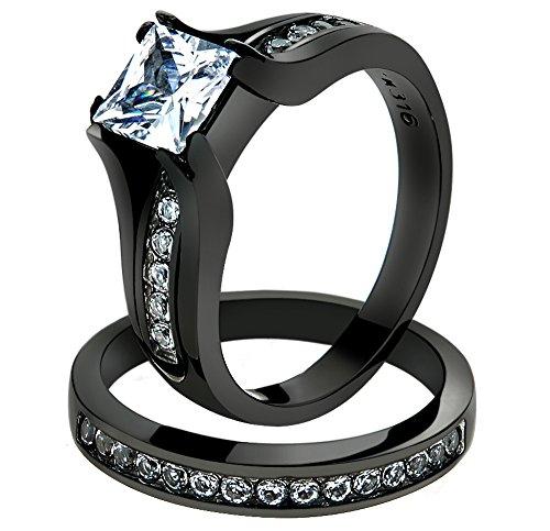 2.10 CT PRINCESS CUT ZIRCONIA BLACK STAINLESS STEEL WEDDING RING SET WOMENS Size 9