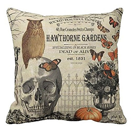 Challyhope Vintage Vogue Throw Pillow Cases Linen Sofa Cushion Cover Home Decor (A | Skull & Owl)