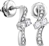 14k White Gold Round Diamond 2-stone Forever Us Hearts Together Screwback Stud Earrings (1/4 Cttw)