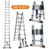 TUOGAO 16.4ft Aluminum Telescoping Extension Ladder Portable Multi-Purpose Folding A-Frame Ladder with Hinges