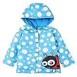 LZH Kids Girls Raincoat Waterproof Jacket Hooded Outerwear Blue Point 5(For Age 5-6Y)