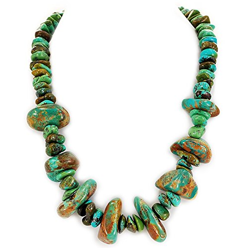 002 Ny6Design Green Turquoise Large Nugget Necklace w Silver Plated Toggle 20.5