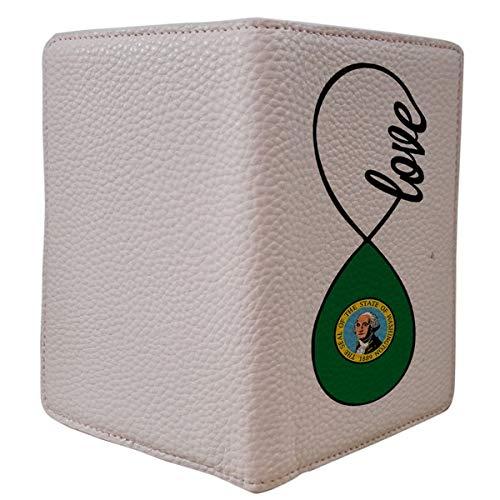 [OxyCase] Designer Light Weight PU Leather Passport Holder Cover/Case - Infinity Love Wa Washington Flag Design Printed Cute Travel Wallet for Girls/Women