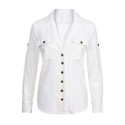 Mujeres Tops Rovinci Mujer Cómodo De Moda Manga Larga Suelto Botón Vestido Largo de Camisa Algodón