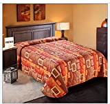 Quilted Bedspread Designed for Hotel/Motel-Resort-Air B&B & Home Over Sized 21'' Fall on Each Side 100% Polyester Fabric-Modern Print-Orange-Throw/Flat Style-Queen 102x118''-5.7 lbs