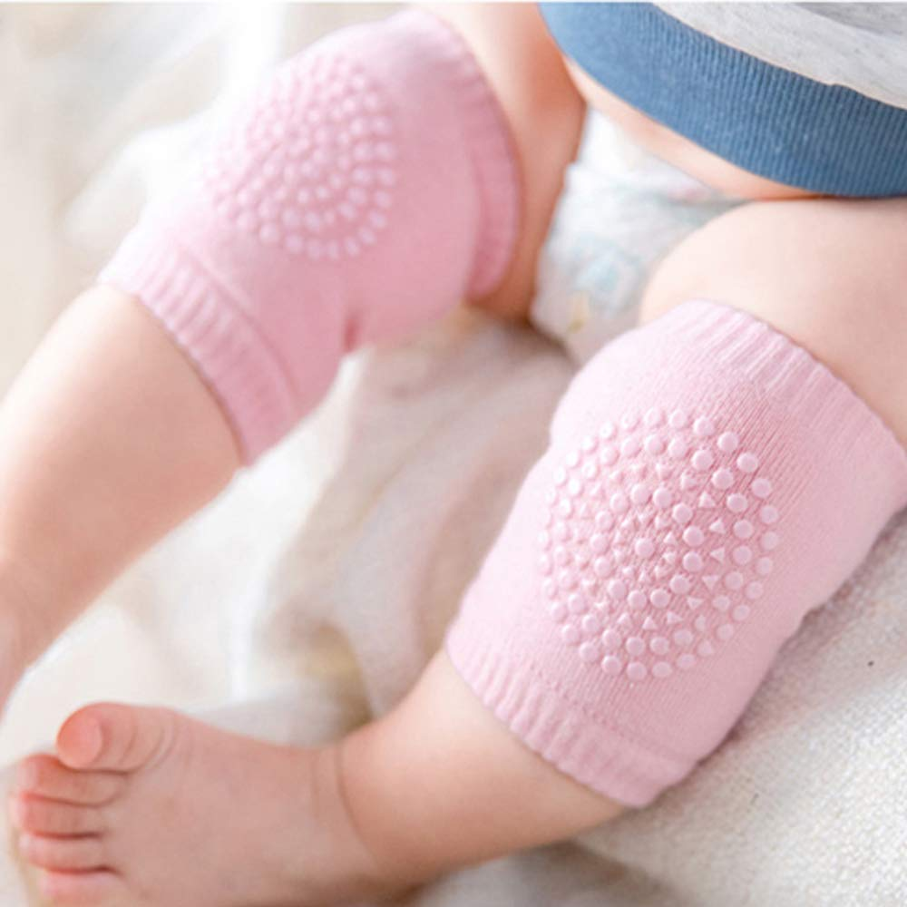 Ouinne Baby Toddler Crawling Anti-Slip Safety Leg Warmers Knee Protectors with Rubber Dots 5 Pairs Baby Knee Pads