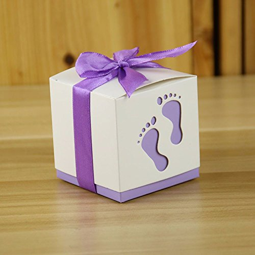 Fascola Pack of 50 Fashion Baby Foot Candy Box Baby Shower Paper Sweet Bag Footprints On The Beach Favour Boxes Baptism Candy Container (Purple)