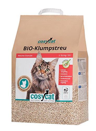 COSYCAT Klumpendes Bio-Katzenstreu aus Holz [100% Natürlich] – 20 l – in der Toilette entsorgbar – Klumpstreu pflanzlich…
