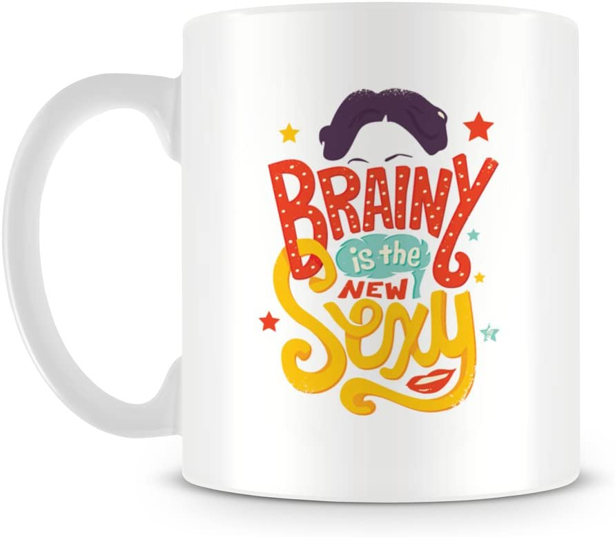 Brainy Is The New Sexy Cool Funny Quote With Girls Face Mug Amazon Ca Home Kitchen