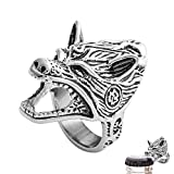 W WOOGGE Men's Ring Viking Norse Wolf Head Gothic Biker Punk Vintagel Beer Bottle Opener for Men Size8-13 (US10) For Sale