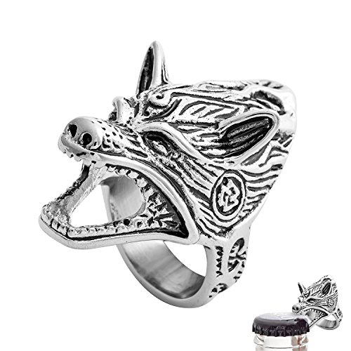 W WOOGGE Men's Ring Viking Norse Wolf Head Gothic Biker Punk Vintagel Beer Bottle Opener for Men Size8-13 (US9)