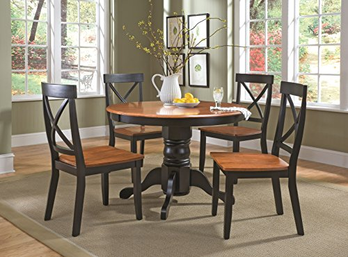 Cottage Oak Finish Seat - Home Styles  5-Piece Dining Set, Black and Cottage Oak Finish