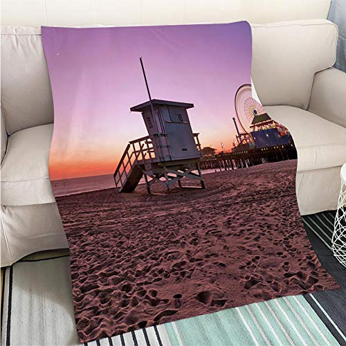 Art Design Photos Cool Quilt Beach Life Guard hut Hypoallergenic Blanket for Bed Couch Chair