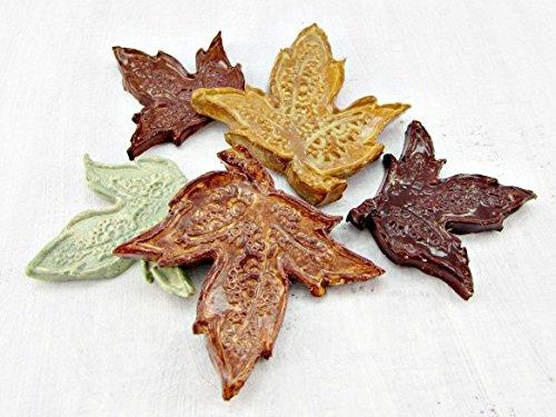 Mosaic Maple Leaf (Handmade Ceramic Maple Leaf Mosaic Tiles for Fall / Autumn / Thanksgiving (Set of)