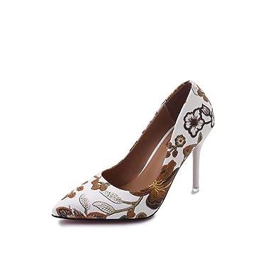 6bcb5c123ce Amazon.com: Autumn Flower Shoes Women Pumps Thin Ultra Super High ...