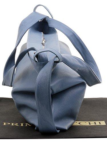 cuir Primo sacs sac incudes protection texturé de Clair Pack dos rangement Grab de bandoulière Bleu Mesdames Rucksac italiennes de Sacchi ® marque Sac à en à rqPrXg