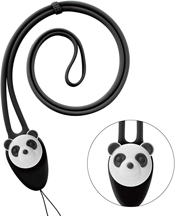 2 Cute Black /& White Panda Bear Fabric Lanyard Key Chain Strap Set ~