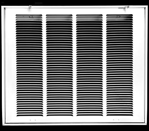 """24"""" X 24"""" Steel Return Air Filter Grille for 1"""" Filter - Fixed Hinged - Ceiling Recommended - HVAC Duct Cover - Flat"""" Stamped Face - White [Outer Dimensions: 26.5 X 25.75]"""