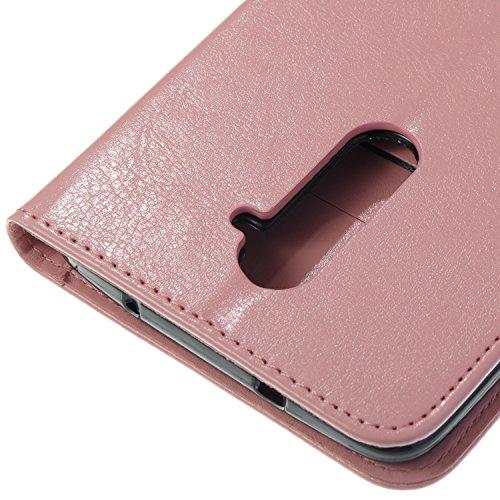 Para ZTE Zmax Pro Z981 funda, (Rose Red) Narcisos caja del teléfono de la PU patrón en relieve ,Función de Soporte Billetera con Tapa para Tarjetas correa de mano soporte para teléfono rosa