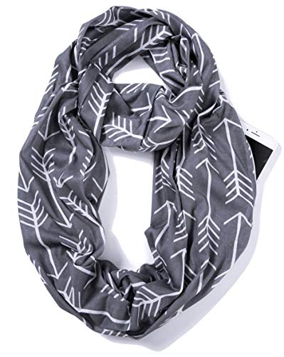 Infinity Jersey - Elzama Infinity Loop Jersey Scarf with Hidden Zipper Pocket Printed Patterns for Women - Travel Wrap