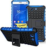 Sony Xperia Z3 Compact Case, FoneExpert® Heavy Duty Rugged Impact Armor Hybrid Kickstand Protective Cover Case For Sony Xperia Z3 Compact + Screen Protector & Cloth (Blue)
