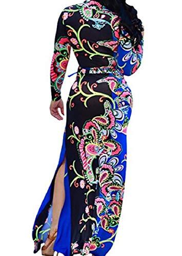 Lunga V Tuffo Vestito Maxi Floreale 2 Primavera Howme Collo Tunica donne size Plus Ct1Ww8Rq