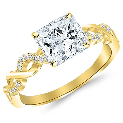 0.38 Cttw 14K Yellow Gold Princess Cut Twisting Infinity Gold and Diamond Split Shank Pave Set Diamond Engagement Ring with a 0.25 Carat D-E Color VS1-VS2 Clarity Center ()