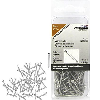 National Manufacturing N278-333 17 Gauge 3/4 Inch Stainless Steel Wire Nails 1.5 Oz. Package