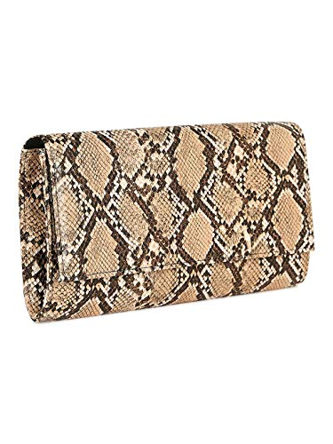 Alrisco Women Leatherette Snake Embossed Fold Over Crossbody Clutch RJ04 - Snake Leatherette (Size: One Size)