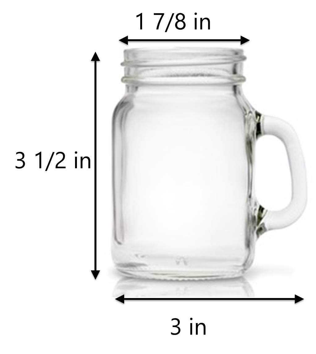 Mason Jar 4 Ounce Mugs - Set of 24 Glasses With Handles And White Leak-Proof Lids - Great For Shots, Drinks, Favors, Candles And Crafts