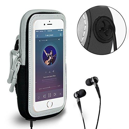 Lumker® Brazalete Deportivo para iPhone X / 6 Plus/7 Plus/8 Plus, Samsung Galaxy S5 /S6/ S8/ S7 Edge otros Teléfonos Inteligentes de 5.1-6.0 Pulgadas Caja del Brazalete Antideslizante Contra Sudor, Ba B-negroy(4.0-5.0 Pulg)