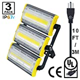 HIKARI 150W New Craft LED Flood Lights, Super Bright Outdoor Work Light, Outdoor Floodlight for Garage, Garden, Lawn,Yard, IP67Waterproof,15000Lm,10FT/3M Wire with plug,3 Pack,7000K,16 Months Warranty For Sale