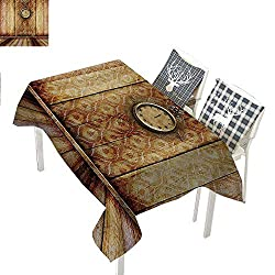 Victorian Decor Table Cover Antique Clock on Medieval Style Wall Wooden Floor Classic Architecture Theme ArtBeige Brown Rectangle Tablecloth W60 xL102 inch