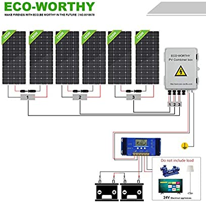 Eco Worthy 1000 Watt 1kw 24 Volt Solar Panel Off Grid Rv Boat Kit With 60a Pwm Charge Controller And Solar Combiner Box
