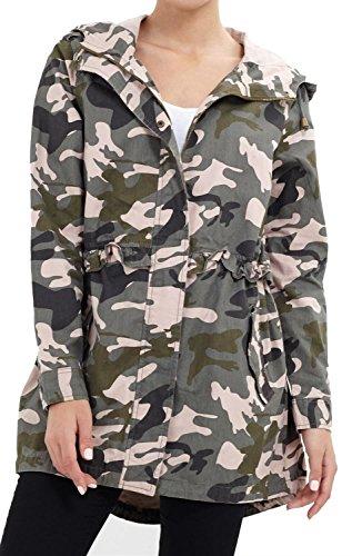 Chocolate Pickle New Womens Plus Size Hooded Army Cotton Twill Parka Coat Frill Waist Jacket Coat Khaki Camo ()