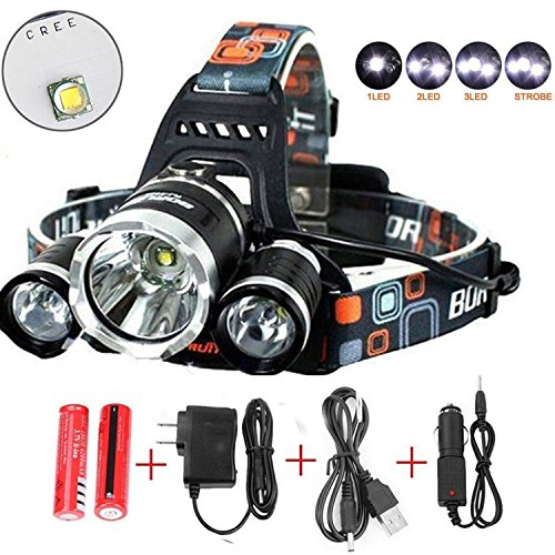 Red Light Changer - Best Led Headlamp Flashlight,Super Bright 10000 Lumens Headlight,Waterproof Hard Hat Light ,Bright Head Lights-Improved Led, Rechargeable18650 Batteries for Hunting Fishing Outdoor Sports(Silver)