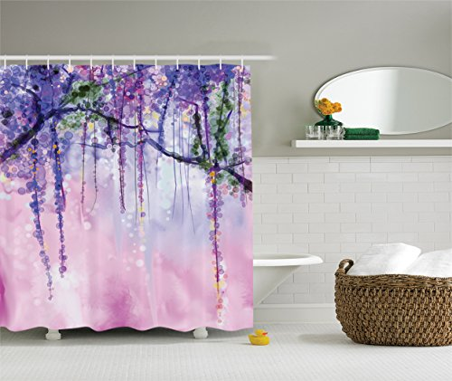 Wisteria Tree Violet - Ambesonne Watercolor Flower Decor Collection, Wisteria Flowers Tree Blurred Design, Polyester Fabric Bathroom Shower Curtain Set with Hooks, 84 Inches Extra Long, Navy Lilac Aubergine Blue Violet