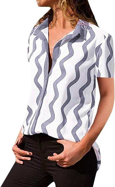 AIMEE7 Ropa Mujer Camisa imprimiendo de Ondas Manga Corta con ...