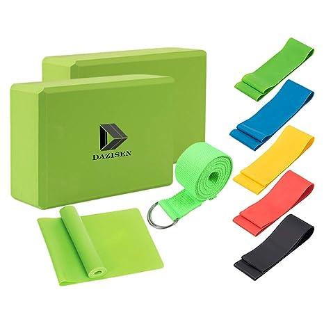 Amazon.com : DAZISEN Yoga Blocks Strap Belts Set of 5 ...