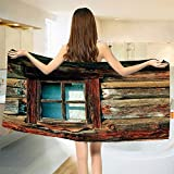 smallbeefly Scenery Bath Towel Single Window with White Curtain on a Wooden Background Lumberjack House Photo Bathroom Towels Brown and Blue Size: W 27.5'' x L 61''