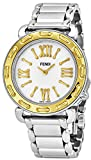 Fendi Selleria Womens Stainless Steel Fashion Swiss Watch - Mother of Pearl Face Yellow Gold Bezel Vintage Dress Watch For Women with Interchangeable Band F8001345H0