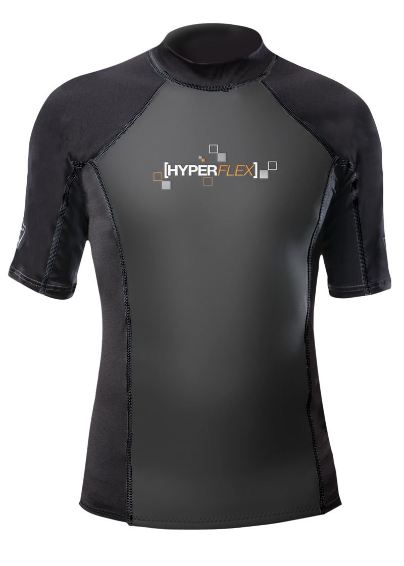 Hyperflex Wetsuits Men's Polyolefin 1.5mm 50/50 S/S Shirt, Black, Large - Surfing, Windsurfing & Wakeboarding by Hyperflex