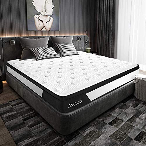 King Mattress, Avenco Hybrid Mattress King, 10 Inch Innerspring and Gel Memory Foam Mattress in a Box, with CertiPUR-US Foam for Supportive, Pressure Relief & Cooler Sleeping, 10 Years Warranty