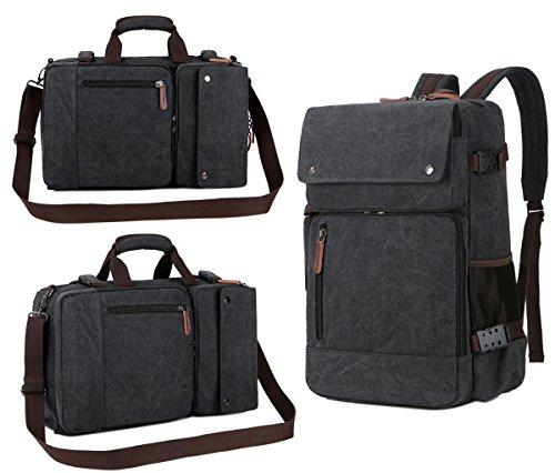 1 Convertible Briefcase - BAOSHA BC-08 3-in-1 Multifunction Men's Briefcase Rucksack Messenger Bag Convertible Vintage Canvas Laptop Backpack 15.6 inch Laptop Bags Handbag Travel Hiking Rucksack (Black)