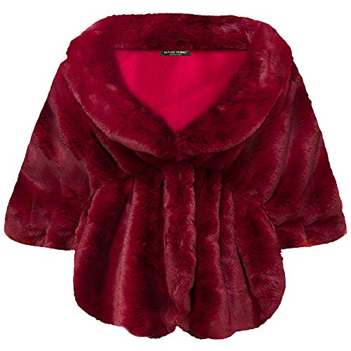 BABEYOND Womens Faux Fur Collar Shawl Faux Fur Scarf Wrap Evening Cape for Winter Coat (Wine Red, Large)