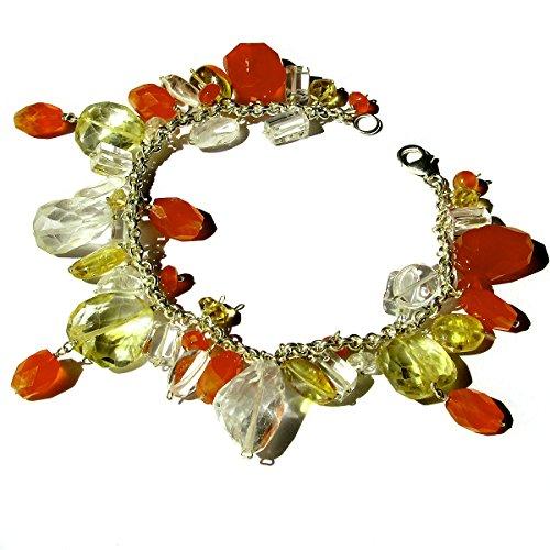 925 Silver Natural Crystal Carnelian Gold Topaz Semi Precious Stone Bead Handmade Charm Bracelet Handcrafted Jewelry