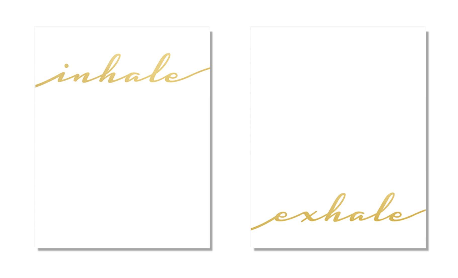 Inhale Exhale 2 Set Wall Art Home Decor Gold Foil Print