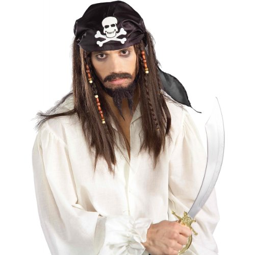 Hair Wig Costumes Accessory (Forum Novelties Men's Pirate Wig and Scarf Costume Accessory, Black/Brown, One Size)