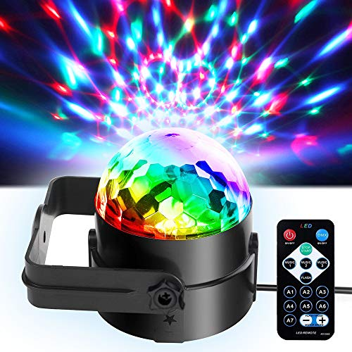 Mini Dj Disco Ball Party Stage Lights Sbolight Led 7Colors Effect Projector Karaoke Equipment for Stage Lighting With Remote Control Sound Activated for Dancing Christmas Gift KTV Bar Concert Birthday ()