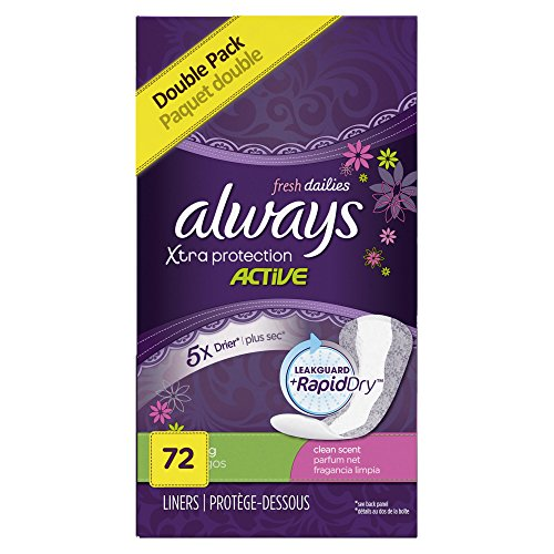 Always Xtra Protection Daily Feminine Panty Liners for Women, Long Length, Fresh Scent, 72 Count (Pack of 4)